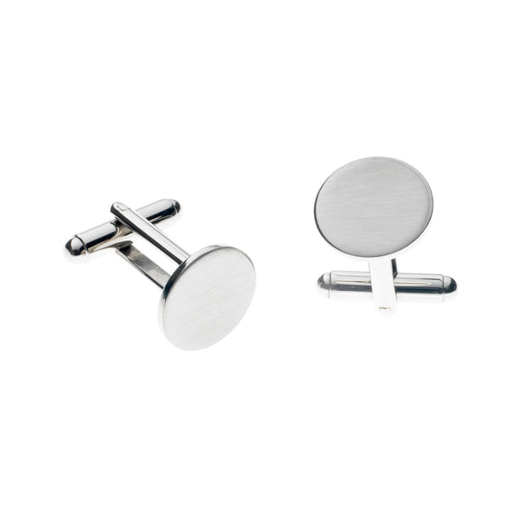 Stainless Steel Round Cufflinks (Satin)