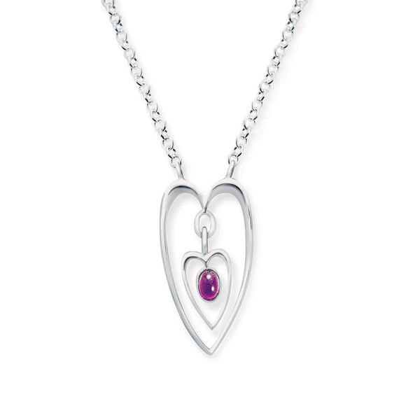 Double Heart and Amethyst Pendant