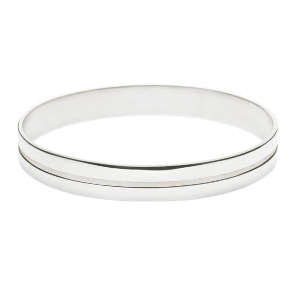 Silver Bangle Polished with Single Groove Small
