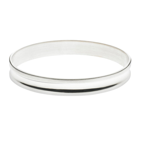 Silver Bangle Satin with Polished Valley Large
