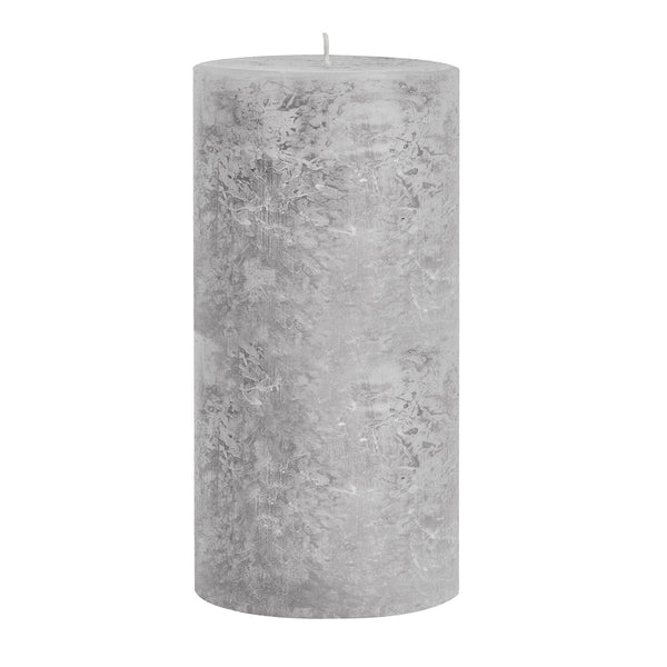 Light Grey Long-Burning Pillar Candle 20cm