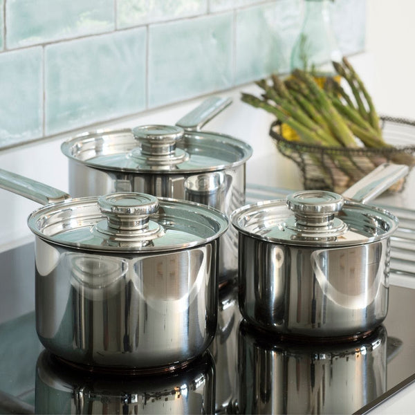 Campden Saucepan Set, 3 Piece - Lifestyle Setting
