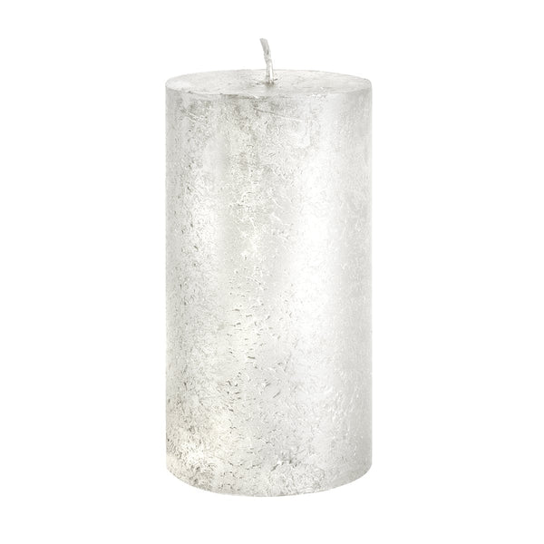 Metallic White Pillar Candle 13cm