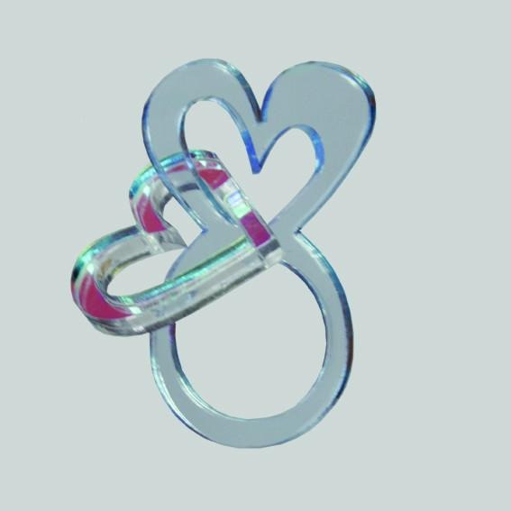 Blue heart ring with dangling heart