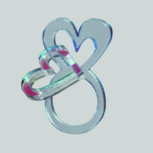 Blue heart ring with dangling heart - Pastel & Neon