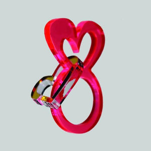 Red heart ring with dangling heart - Pastel & Neon