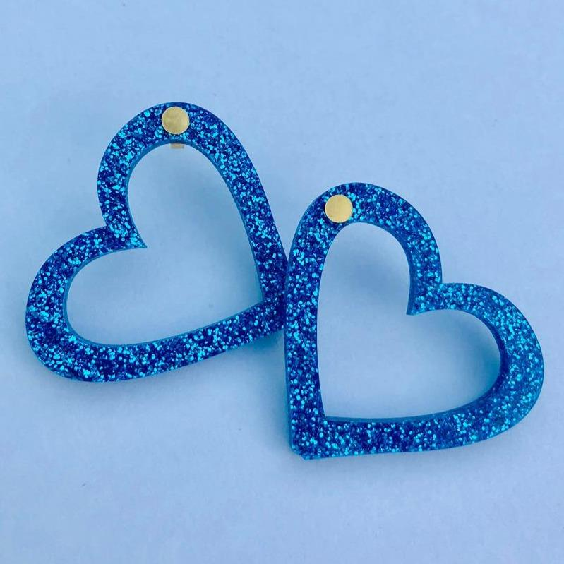 Sparkling Blue Hearts xs