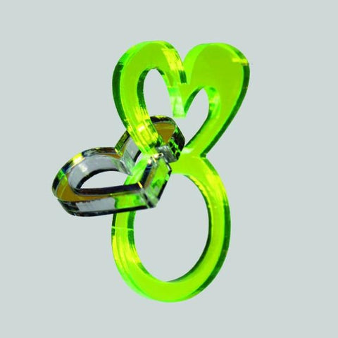 Green heart ring with dangling heart