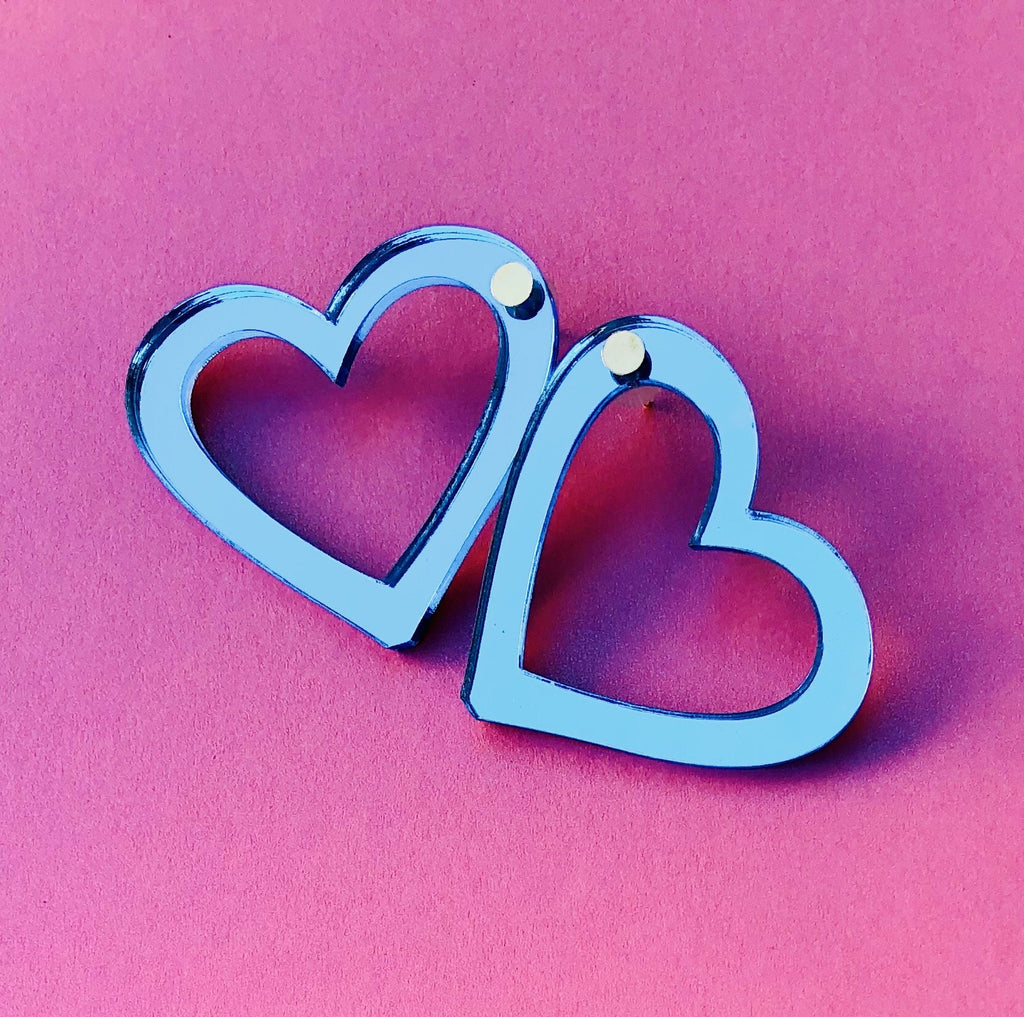 Metallic Blue Hearts XS