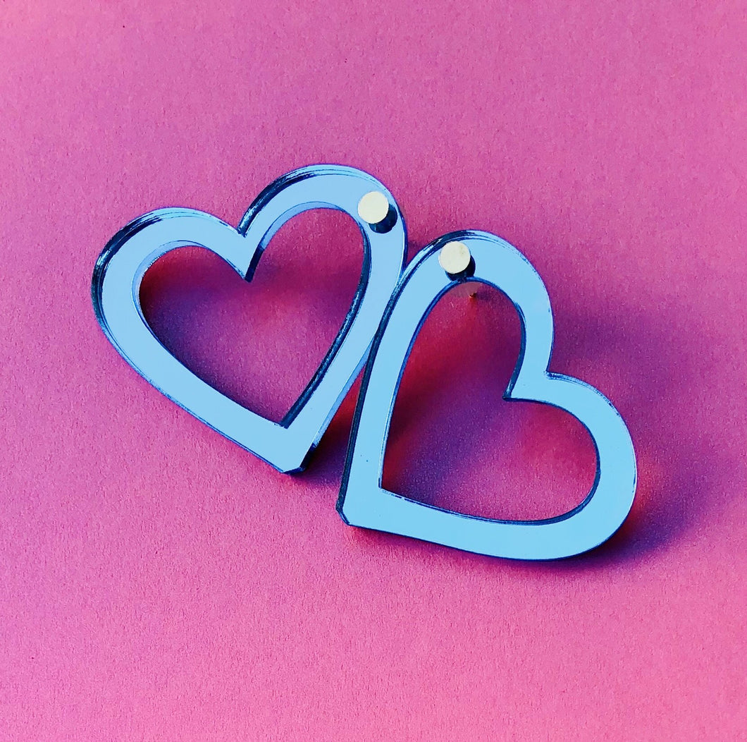 Metallic Blue Hearts XS - Pastel & Neon