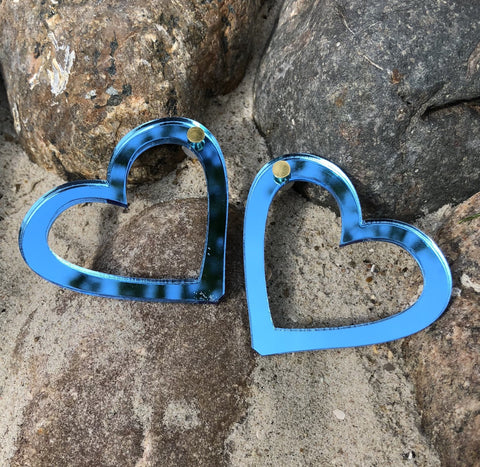Metallic Blue Hearts