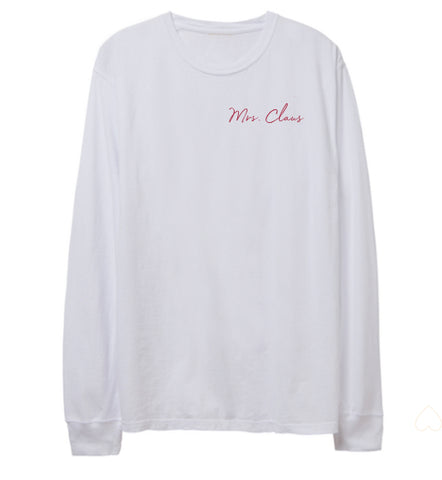 -BRAND NEW MRS CLAUS WHITE LONG SLEEVE TSHIRT