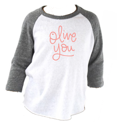 Brand New Olive You Raglan For Mini (sizes 3-6 Months up to 12 Youth)