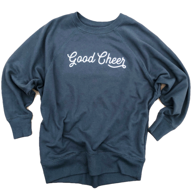 BRAND NEW GOOD CHEER ASPHALT GRAY PULLOVER COLLAB WITH JESSICA GARVIN