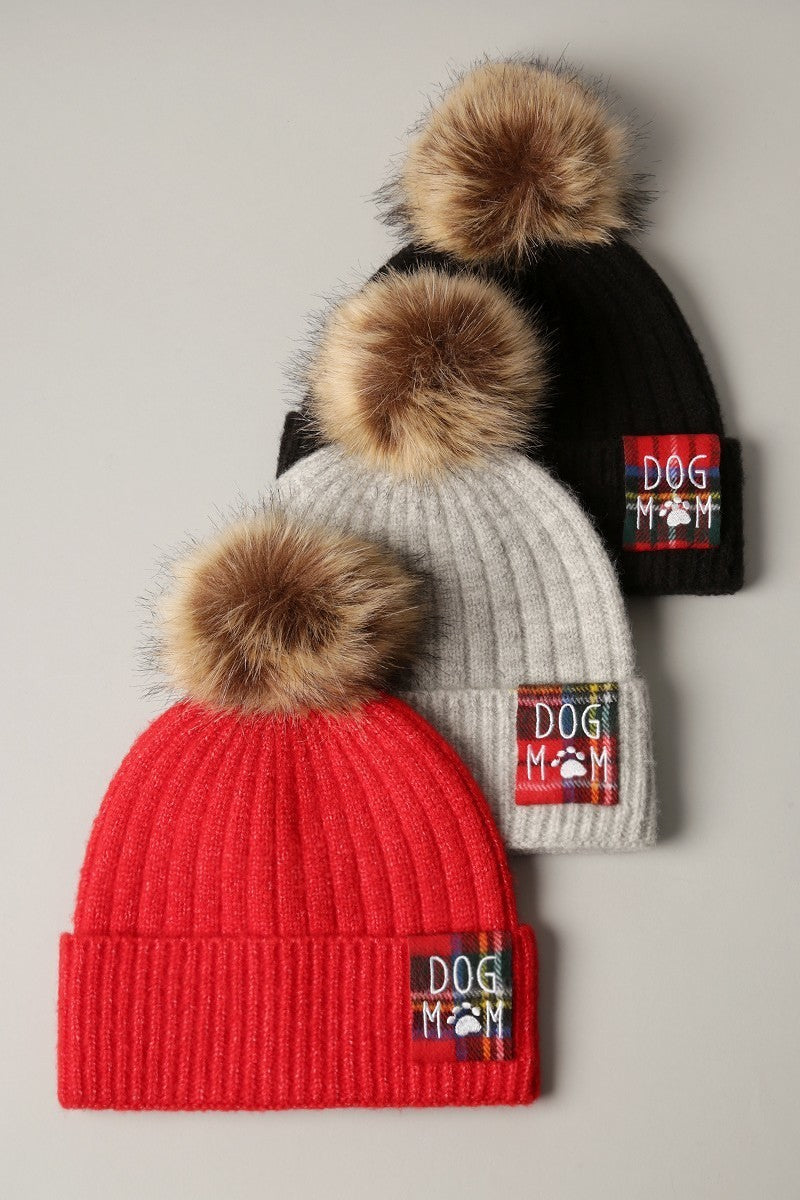 Dog Mom Beanie - Faux-Fur Pom Pom