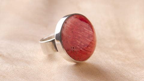 unique handmade silver jewelry red ring