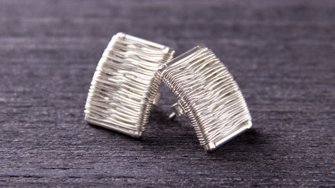 handmade sterling silver threads earrings