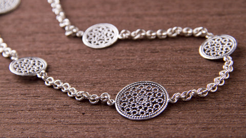 long handmade sterling silver filigrane necklace