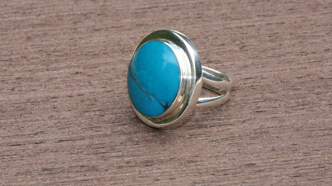 Turquoise sterling silver unique handmade ring