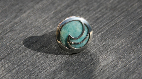 Aqua amazonite unique silver ring