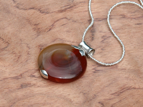 Brown agate pendant handmade in sterling silver