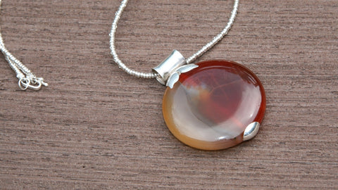 unique handmade sterling silver & brown agate pendant