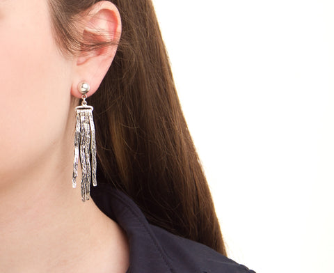 handcrafted silver jewelry - coral earrings