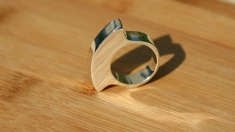 minimalist unique design handmade sterling silver ring