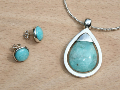 aqua stone amazonite handmade silver earrings & necklace