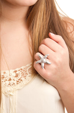 hand crafted silver jewellery starfish ring