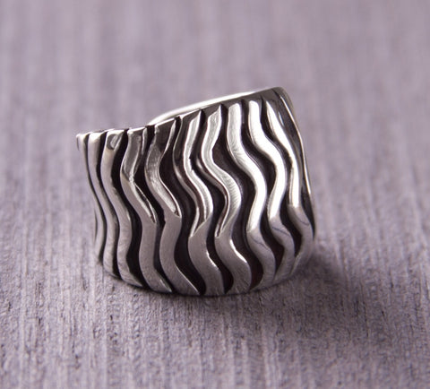 hand crafted silver jewellery waves ring