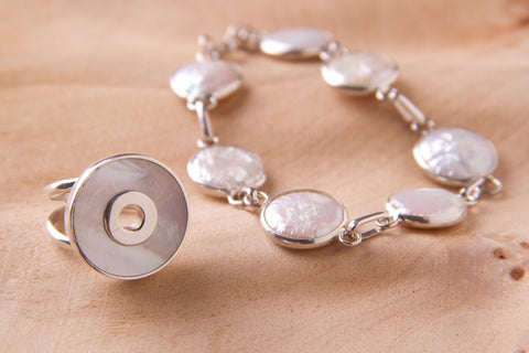 handcrafted silver jewelry mother pearl bracelet
