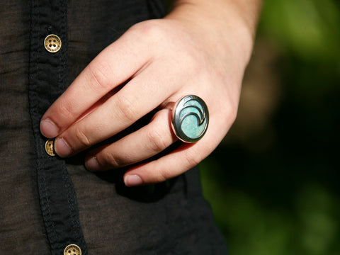 unique aqua amazonite handcrafted sterling silver ring