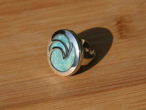 aqua stone amazonite sterling silver ring