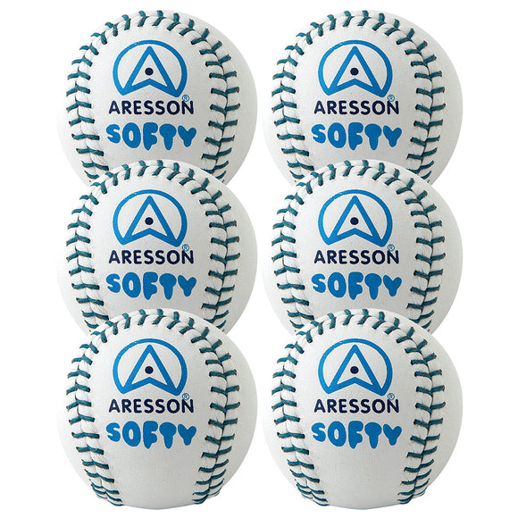 Aresson Softy Rounders Ball White 6 Pack - Sports Ball Warehouse