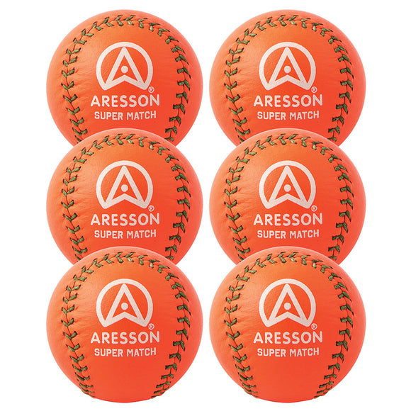 Aresson Super Match Rounders Ball 6 Pack (Orange) - Sports Ball Warehouse