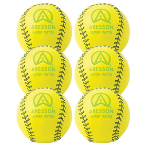 Aresson Super Match Rounders Ball 6 Pack (Yellow) - Sports Ball Warehouse