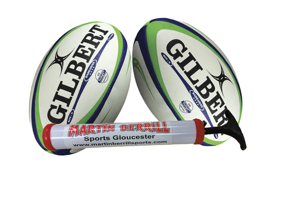 Gilbert Barbarian Match Rugby Ball Twin Pack with Hand Pump - Sports Ball Warehouse