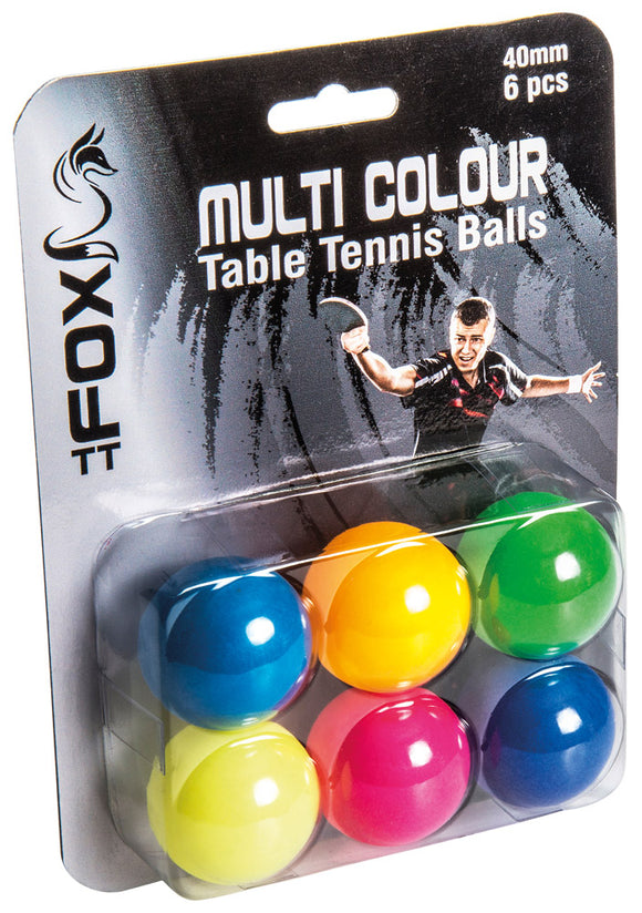 Fox Coloured Table Tennis Balls (Pack of 6) - Sports Ball Warehouse