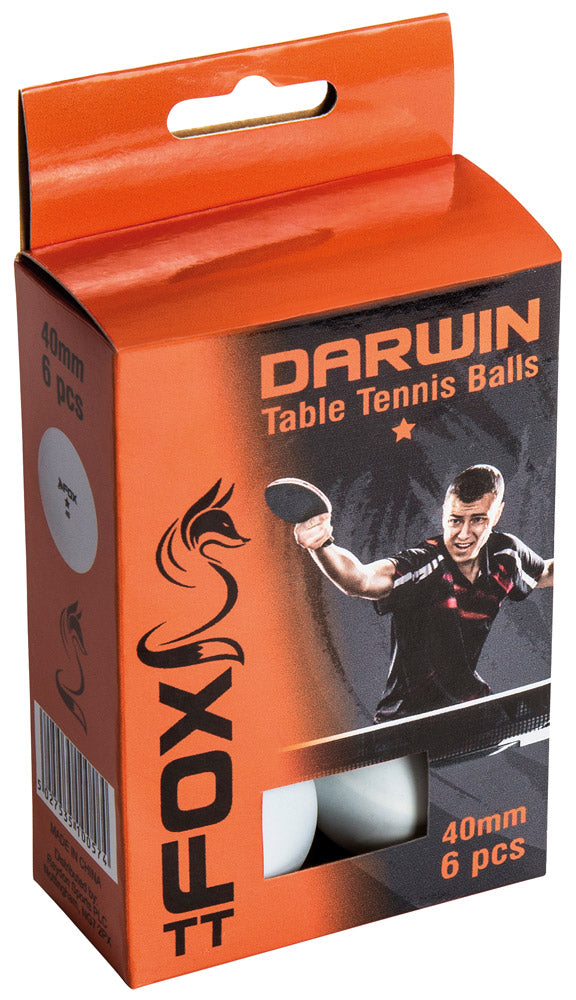 Fox Darwin 1 Star Table Tennis Balls (Pack of 6) - Sports Ball Warehouse