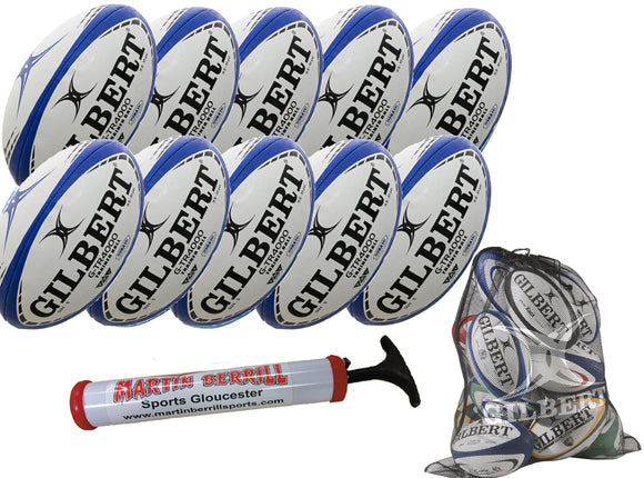 Gilbert G-TR4000 Ten Pack Navy with Hand Pump & Mesh Ball Sack - Sports Ball Warehouse