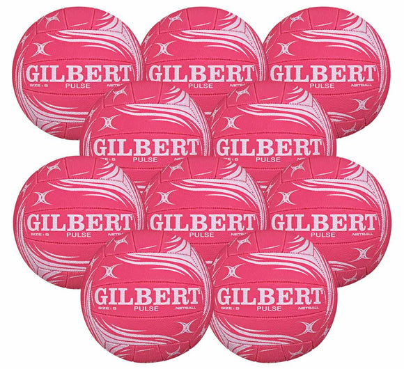Gilbert Pulse Match or Training Netball 10 Pack (Pink) - Sports Ball Warehouse