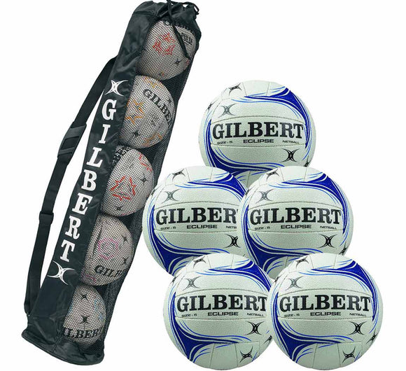 Gilbert Eclipse Match Netball 5 Ball Pack with Ball Tube - Sports Ball Warehouse