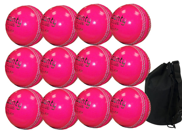 Hunts County Club Ball Senior Pink 12 Pack With Ball Bag - Sports Ball Warehouse