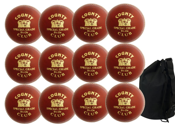 Hunts County Club Ball Senior Red 12 Pack With Ball Bag - Sports Ball Warehouse