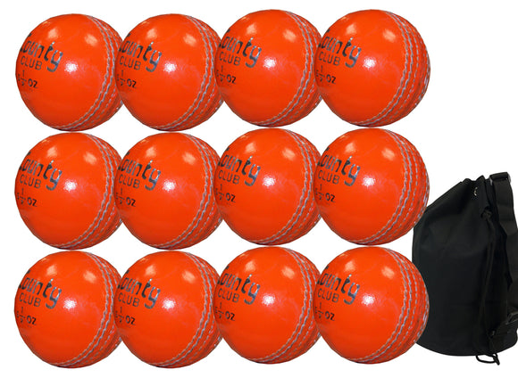 Hunts County Club Ball Junior Orange 12 Pack With Ball Bag - Sports Ball Warehouse