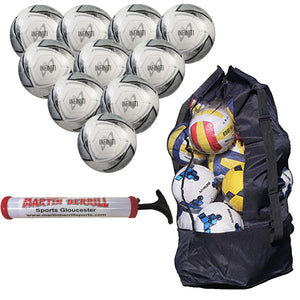 Samba Infiniti Training Ball Ten Pack with Ball Sack and Hand Pump (White/Silver) - Sports Ball Warehouse