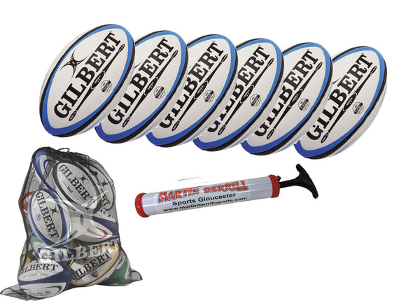 Gilbert Omega Rugby Ball Six Pack with Hand Pump & Mesh Sack - Sports Ball Warehouse