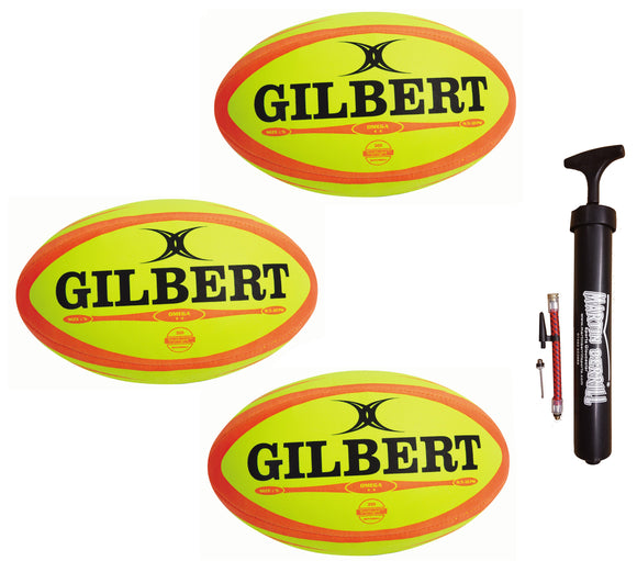 Gilbert Omega Rugby Ball Triple Pack with Hand Pump