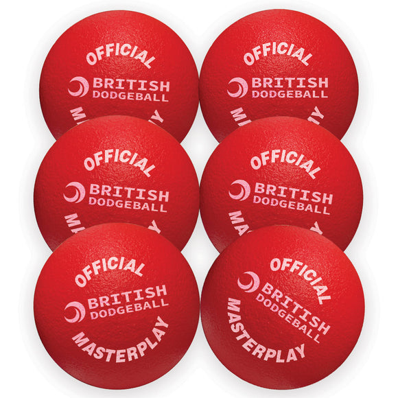 Official British Dodgeball Foam Dodgeball - Set of 6 (Red)